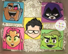 Teen Titans Go Cookies - 1 Dozen Cookies) by YummyConfectionsLLC on Etsy Beast Boy, 6th Birthday Parties, Boy Birthday, Birthday Ideas, Cake Designs For Boy, 5 Gifts, Teen Titans Go, Head Shapes, Glue Crafts