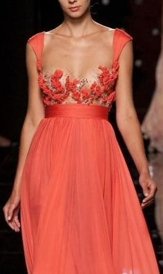 Roberto Cavalli orange gown - for more fashion visit http://pinterest.com/franpestel/fashion-rien-que-de-la-mode/