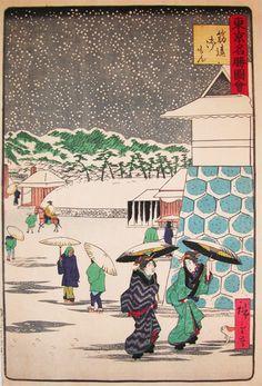 二歌川広重 Snow at Sujikai-Gomon
