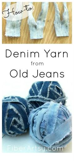 How to Make Denim Yarn from Old Jeans | Great for lots of knit and crochet patterns such as rugs or purses. Free tutorial from FiberArtsy.com by maxine