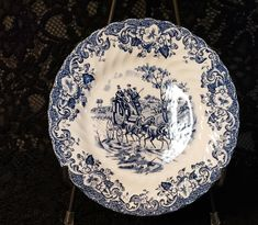 Johnson Brothers of England, Bread & Butter Plate, Ironstone, Coaching Scenes Pattern, Cobalt Blue Transferware, Hunting Country 2 Available Antique Hutch, Johnson Brothers, Bread N Butter, Vintage Plates, Pattern Names, China Dinnerware, Tea Cup Saucer, Diamond Pattern, Cobalt Blue