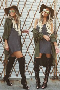 Fall Outfit - Loose grey dress, green jacket, black lace up boots - So perfect!♡