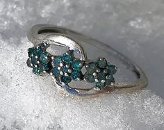 Vintage Genuine Blue Diamond Cluster Flower Sterling Silver Petite Ring Size 5 Valentine's Gift for Her Free Shipping by AdornedInHistory on Etsy