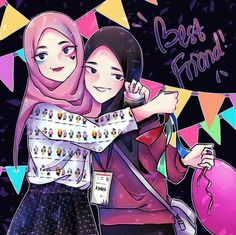Friend Cartoon, Friend Anime, Hijab Cartoon, Coran, Girl Wallpaper, Emoticon, Islamic Art, Drawing Reference, Cartoon Art