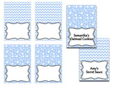 Printable Baby Shower Food Tent Blue Food by HuggableMeDesigns, $3.50