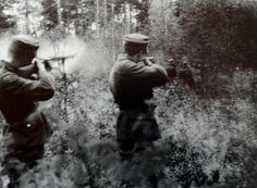 Two Finnish soldiers sentenced to death by court-martial in October 1941. It was their own wish to have their backs towards the firing squad. World War Two
