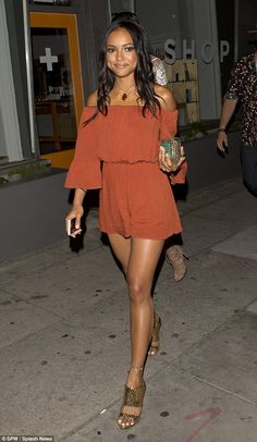 Out and about: Karrueche Tran enjoyed a night out with some of her close friends in Los Angeles on Wednesday evening