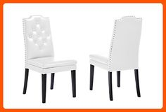 Baxton Studio Dylin Modern & Contemporary Faux Leather Button Tufted Nailheads Trim Dining Chair (Set of 2), White - Improve your home (*Amazon Partner-Link)