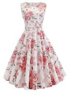 Floral Sleeveless Swing Dress – Retro Stage - Chic Vintage Dresses and A. - Floral Sleeveless Swing Dress – Retro Stage – Chic Vintage Dresses and Accessories - Elegant Dresses, Sexy Dresses, Cute Dresses, Beautiful Dresses, Dress Outfits, Fashion Outfits, Summer Dresses, Formal Dresses, Awesome Dresses