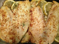 Best fish ever! 2 Lemon slices on bottom top with 3-4 tilapia. Season w/ creole seasoning & herbs de pervonce. Broil 3 min thin flip. Then mix  1 1/2 tbsp mayo, 1/4c Parmesan, 1/8c butter, 1/2tsp dill and cover fish with mixture. Place in oven and broil another 4 mins.