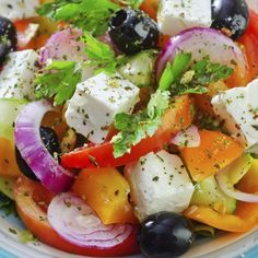 A very yummy recipe for Greek salad with a great salad dressing.