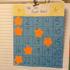 Whole class reward. Earn superstar doing right thing. Kind of like bingo. Student draws number and places superstar on number. Five in a row gets whole class reward.