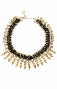 Leather-Woven Spike Necklace BCBG