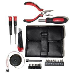 "Everything you need to get the job done; all wrapped up in a handsome faux-leather pouch. Closed with tools, 6 1/2"" L x 5 1/2"" W x 1 1/2"" H. Metal, plastic. Imported. Set includes:• 1 cutter• 1 extension bar• 1 tape measure (1M)• 10 screw bits with holder• 4 drive sockets with holder• 2 metal screwdrivers (Phillips head & slotted head)• 1 driver handle• 1 pliers• foldable pouch"
