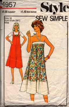70s Womens Tent Dress or Pinafore Pattern Style 1957 Vintage Plus Size Sewing Pattern Size 16 Bust 38 inches