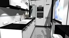 bielo čierna kuchyňa