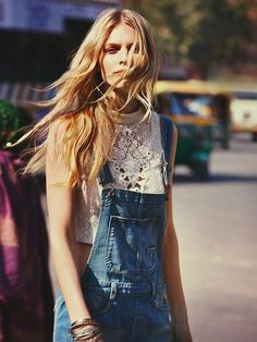Denim overall & lace