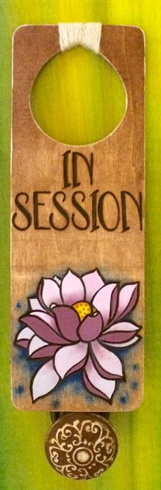 Quiet Please In Session Wood Burned Door Hanger With Painted Pink