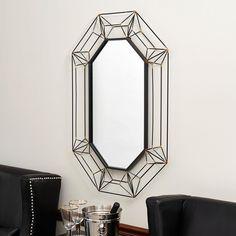 Large Oval Wall Mirror in Black Metal