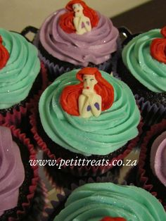 Little Mermaid themed cup cakes