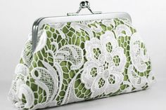 Weddbook ♥ white lace bridal clutch in apple green