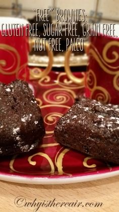 "@ThermOMG's ""Free"" Brownies: Gluten Free, Sugar Free, Grain Free, Nut Free, Paleo. Simply delicious!"