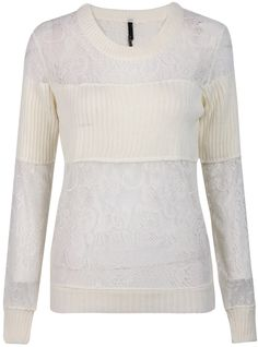 Shop White Long Sleeve Contrast Knit Lace Sweater online. Sheinside offers White Long Sleeve Contrast Knit Lace Sweater & more to fit your fashionable needs. Free Shipping Worldwide!