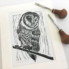 Owl linocut print Gift for bird lover Home decor Bird Owl Wall Art, Fabric Stamping, Owl Print, Ink Illustrations, Linocut Prints, Bird Prints, Bird Art, Printmaking, Encaustic Painting