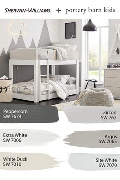 Find Sherwin-Williams paint colors perfect for your nursery or kids' bedroom DIY painting project! Tap this pin to explore the entire @potterybarnkids Spring/Summer 2020 palette featuring hues like Argos SW 7065, Network Gray SW 7073 and more. #sherwinwilliams #potterybarn #potterybarnkids #pbkids #kidsroom #decor #design #paintinspo #diy Kids Bedroom Paint, Bedroom Paint Colors, Interior Paint Colors, Paint Colors For Home, House Colors, House Paint Exterior, Pottery Barn Kids, Boy Room, New Homes
