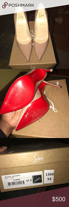 So Kate 100% Authentic comes with box and dustbag . Shows slight signs of wear on the bottom of the shoe .'please know your size as these shoes are narrow . Christian Louboutin Shoes Heels