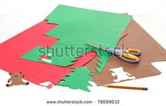 Crafts to Make with Paper and Scissors | Construction Paper, Pencil And Scissors To Make Christmas Crafts Stock ...