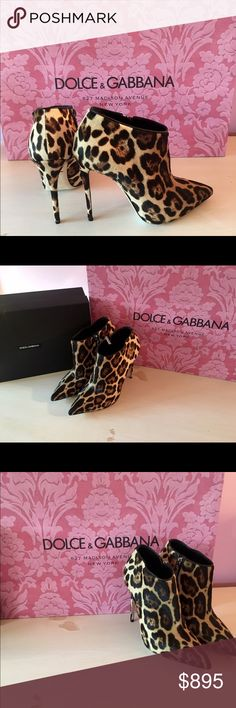 DOLCE & GABBANA LEOPARD BOOTIES! Beautiful leopard printed calf hair on these Dolce & Gabbana booties! Brand new, never worn! Size 38.5 Dolce & Gabbana Shoes Ankle Boots & Booties