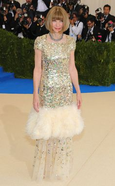 Anna Wintour from Met Gala 2017: Best Dressed Stars  The woman of the night arrives in a show-stopping sequin TK number. We love the fur detail halfway down her skirt!