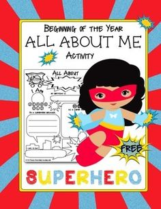 """Superhero Themed """"All About Me"""" Activity   Here is a fun freebie for your Speech Room or classroom!  Perfect for getting to know your students at the beginning of the year, they will love filling out this cute activity sheet.  This activity coordinates with my <a href=""""http://www.teacherspayteachers.com/Product/Superhero-Theme-1135095"""">Superhero Themed Classroom Decor Pack</a>"""