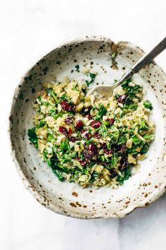 Garlic Kale and Brown Rice Salad with a zippy lemon herb dressing! This side dish recipe is so simple and it compliments almost any main dish! Vegetarian, vegan.   pinchofyum.com