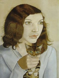 Girl With A Kitten by Lucian Freud