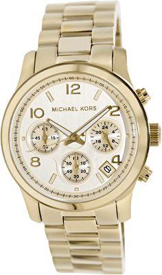 Michael Kors MK5055 - Reloj cronógrafo de cuarzo para mujer, correa de acero inoxidable color dorado (cronómetro, agujas luminiscentes)