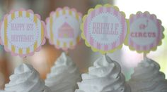 12 Pink & Yellow Vintage CIrcus Girl Theme Birthday Cupcake  or Cake Toppers - Ask About our Party Pack Sale - Free Ship Over 40.00. $12.00, via Etsy.