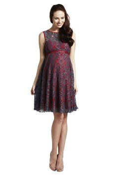 Rock Aby Rosie Lizzie - Elegant Maternity Lace Prom Dress With Contrast Lining : Color - Grey/Red : Size - 14: Amazon.co.uk: Baby