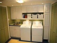 Stuuning Country Laundry Room Decoration Ideas: White Furniture for Country Laundry Room Ideas with White Washers and White Vanity also White Upper Laundry Cabinet plus White Corner Cabinet – Swimbus Interior Design