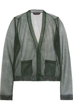 Rochas|Metallic fine-knit cardigan|NET-A-PORTER.COM