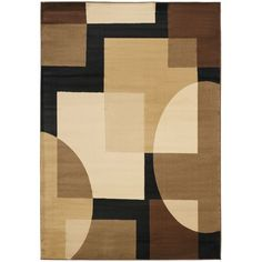 Squares and circles collide in a modern pattern of overlapping geometric shapes in this power-loomed contemporary rug. This durable rug features neutral colors that blend in well with most furniture. It's also low maintenance and doesn't shed.
