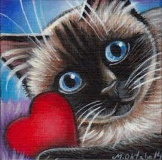 Siamese Cat Valentine Painting