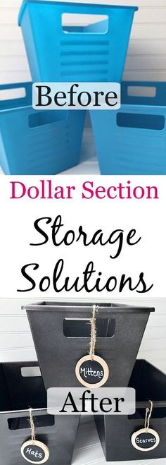 Creating Storage Solutions using dollar store bins. Never would have thought those bins were from the dollar store. Perfect idea to organize all those items in the coat closet (or anywhere). Dollar Store Bins, Dollar Store Hacks, Dollar Store Crafts, Dollar Stores, Dollar Tree Storage Bins, Diy Organizer, Organize Life, Camping Bedarf, Camping Guide
