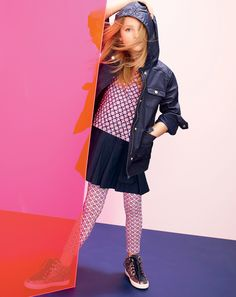 J.Crew girls' hooded downtown field jacket and knit foulard dress.