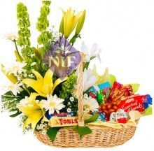 Basket of Mixed Flowers and Chocolates