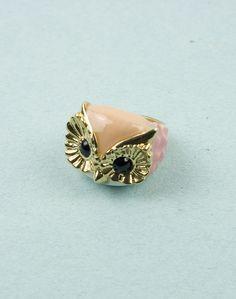 {Pink + Gold Owl Ring}