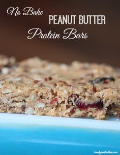 Whip up this delicious and easy No Bake Peanut Butter Protein Bar recipe. No refined sweetener. So healthy and delicious!! #wholefoods