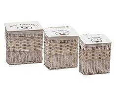 Set de 3 cestos de mimbre y tejido - blanco