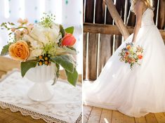 lovely white flowers with pops of blush, peach, and coral